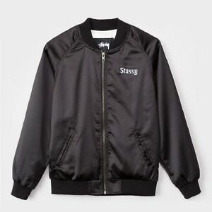$100 Stussy Women California Satin Jacket black