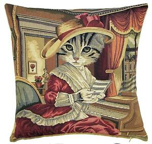 belgian gobelin tapestry cushion cover throw pillow dressed cat with hat playing $39.00