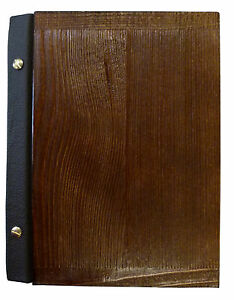 MENU HOLDER A5 SIZE WOODEN leather RESTAURANT PUB HOTEL BAR TABLE engraving NEW