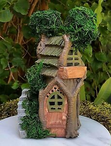 Miniature Dollhouse FAIRY GARDEN Furniture Two Story Double Tree House w Moss $12.95