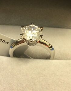 0.5 CT ROUND CUT DIAMOND SOLITAIRE ENGAGEMENT RING 14K WHITE GOLD ENHANCED 6.5