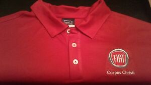 Fiat Employee Men Nike Golf Red Black Stripe Sleeve Polo XXL 2XL Shirt Dry Fit