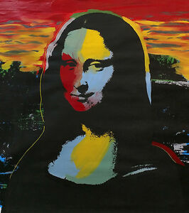 MONA LISA by STEVE KAUFMAN - Andy Warhol -Mixed Media on Canvas- SIGNED