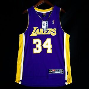 100% Authentic Shaquille O'neal Nike Dri Fit Lakers Jersey Sz 44 L - Shaq Oneal