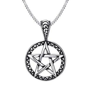 Mens Wicca Magic Pentagram Pentacle Star Stainless Steel Pendant Chain Necklace