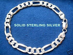 8MM 925 STERLING SILVER MEN'S DIAMOND CUT FIGARO LINK BRACELET 8