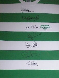 5 x Lisbon Lions 1967 Celtic EC Winners Shirt Hand Signed by 7 AFTAL RD#175 SALE