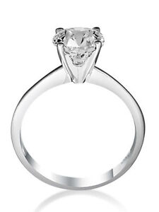 EXCLUSIVE DESIGN 2.00 CT E VS1 ROUND CUT DIAMOND SOLITAIRE RING 14 K WHITE GOLD
