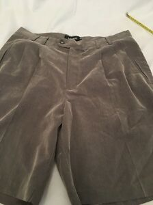 Ashworth Men's Golf Dress Shorts. Size 34. Brown And Pleated. Polyester.