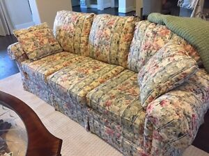 Living Room Furniture sofa two chairs and coffee table sage green and floral. $825.00