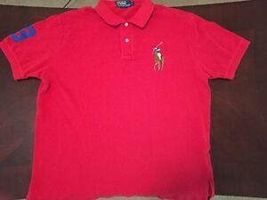 Ralph Lauren Polo Shirt Adult Large Red Big Pony Logo #3 Rugby Sport Mens