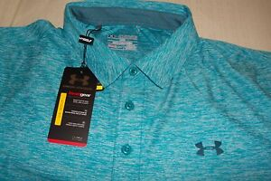 UNDER ARMOUR LOOSE FIT GOLF POLO SHIRT NICE TOURQUISEWHITE *STRETCH* SZ 2XL