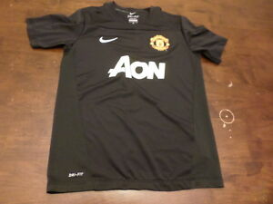 Manchester United Nike youth kids medium Aon dry fit used jersey shirt