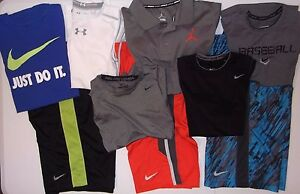 Boys L NIKE Dri-Fit athletic lot shorts & shirts - Pro Combat Under Armour golf