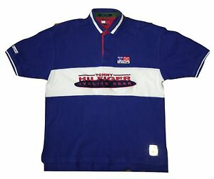 VTG 90s Tommy Hilfiger Athletics Sport Spellout Colorblock Cycling Polo Shirt Xl