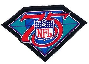NFL 75 Year Patch Black with Turquoise and Red
