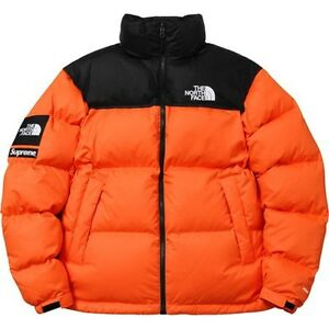 Supreme x The North Face Nuptse Jacket Power Orange Size Small - New - Authentic