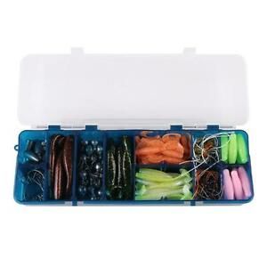 Fishing Tackle 143pcs Soft Bait Set Fishing Lure Tackle Box Bullet Lead Hooks
