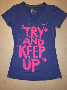 NIKE TRY AND KEEP UP RUNNING SLIM FIT V NECK TEE T SHIRT WOMENS XS EUC Blue