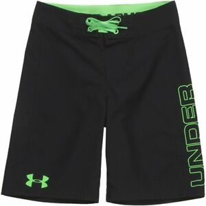 Boys Under Armour Hiit Board Shorts Black Laser Green Size 29