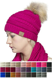 ScarvesMe C.C Solid Ribbed Beanie with Faux Fur PomPom