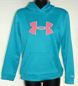 Under Armour Storm Hoodie Sweatshirt Girls Youth Size YLG Loose Green Pink
