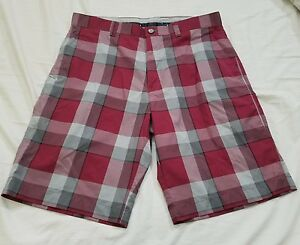 Mens Callaway Golf Shorts Red Plaid Size 34 A6-117