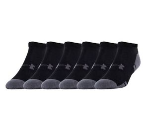 Under Armour UA Resistor® III 3.0 No Show 6 pack Men's Black Athletic Socks $22.00
