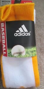 2 PAIRS ADIDAS BASEBALL SOCKS  CLIMALITE CUSHIONED COMPRESSION YELLOW MEDIUM