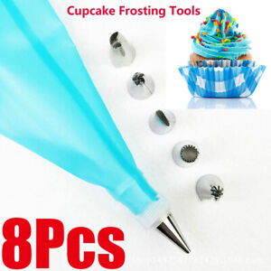 8PCS Silicone Kitchen Icing Piping Cream Pastry Bag+6 Stainless Steel Nozzle Set