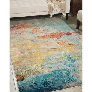 Contemporary Abstract Transitional Aqua Teal Blue Area Rug *FREE SHIPPING* $439.00