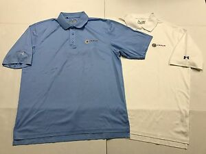 Lot of 2 Under Armour HeatGear Golf Polo Shirts Loose Blue White SS Mens Medium