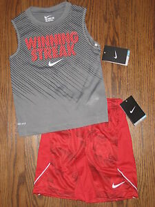 NEW boys lot shirt 4 Nike shorts sleeveless dri fit winning streak outfit set