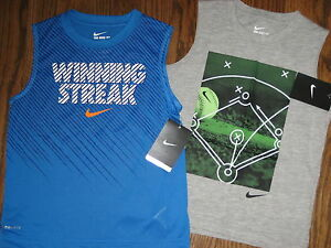 NEW boys lot shirts tops 6 Nike logo cotton polyester sleeveless dri fit