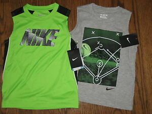 NEW boys lot shirts tops 5 Nike logo cotton polyester sleeveless dri fit
