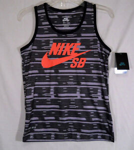 Nike SB Dri-Fit  Boy's Sleeveless Shirt  BlackGrey Polyester  Skateboarding New