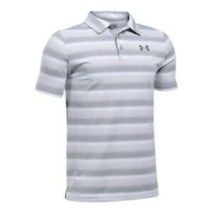 Under Armour Boys' Playoff Stripe Polo Shirt WhiteOvercast Gray Youth X-Small