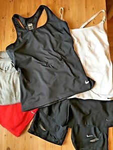 Lot of Nike Womens Running Gear  2 T Shirts  2 Tanks  2 Shorts Fit Dry  VGUC  M