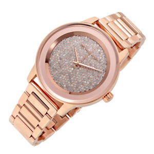 100% New Michael Kors 42mm Kinley Pave Dial RoseGold Bracelet Women Watch MK6210