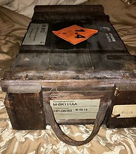 VINTAGE GERMAN 1983 wooden Ammo & weapons BOXES In good condition with labels
