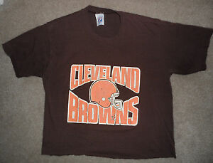 VINTAGE ORIGINAL 1980s CLEVELAND BROWNS NFL Football LOGO 7 CUTOFF T SHIRT M