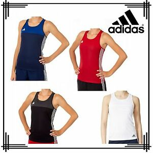 adidas T16 Tank Top 3 Stripe Ladies Climacool Girls Sport Running Gym T-Shirt