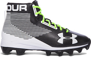 Under Armour Hammer Mid RM Jr Youth Football Cleats Shoes BlkWht 1289783-011