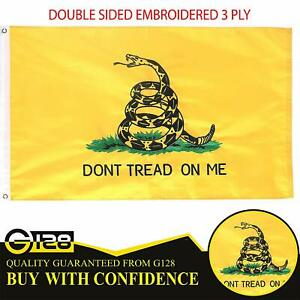 3x5 Gadsden Dont Tread On Me Double Sided 2Ply Sewn Flag 3'x5' Banner