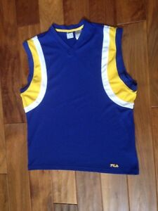 Fila Mens Jersey Basketball Tank Top Workout Sleeveless Cut Off Shirt Large Blue
