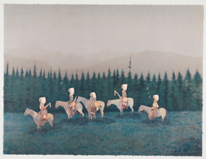 Original signed Kevin Red Star lithograph Return of a Small Crow War Party $4900.00