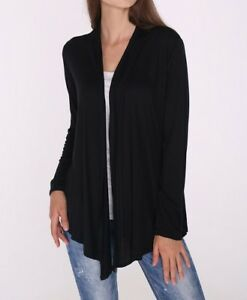 Classic Open Front Black Draped Cardigan Top Shirt Sweater Career SML/Plus Size