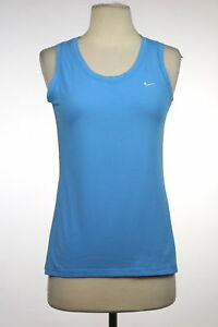 Nike Fit Dry Womens Top Size S Blue Active Sleeveless Cotton Shirt Tank