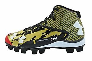 Under Armour Boys UA Deception Mid RM Jr. Baseball Cleats Black  Gold Red