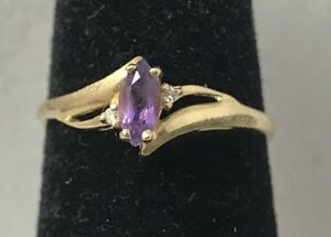 Natural Amethyst & Diamond Accent 10K Yellow Gold Ring Size 5.75